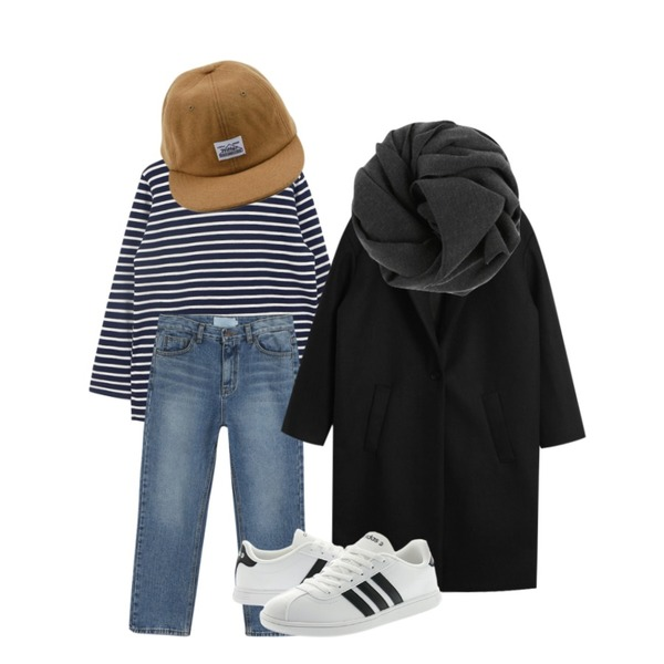 daily monday Warm straight denim,daily monday Another winter stripe tee,TODAY ME [coat]바뉴 코트등을 매치한 코디