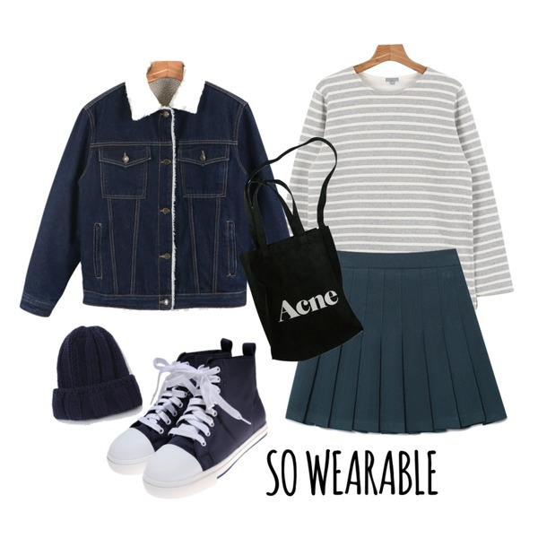 Reine Danis Easy Tenis Skirt ,daily monday Winter denim jacket11/19 입고예정,daily monday Another winter stripe tee등을 매치한 코디