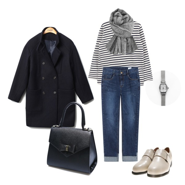 Reine Tommys Button Wool Coat,MIXXMIX 131 매쉬 와치,daily monday Another winter stripe tee등을 매치한 코디