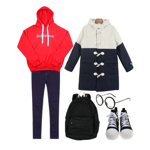 MIXXMIX 782 데님 팬츠,daily monday Two-tone duffle padding jumper,WEAR YOU superpower hood등을 매치한 코디