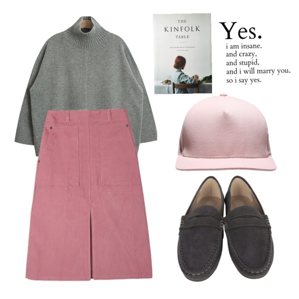 AIN suede penny loafer (5 colors),DORA 어쿠스틱SK,TODAY ME [knit]베리즈 니트등을 매치한 코디