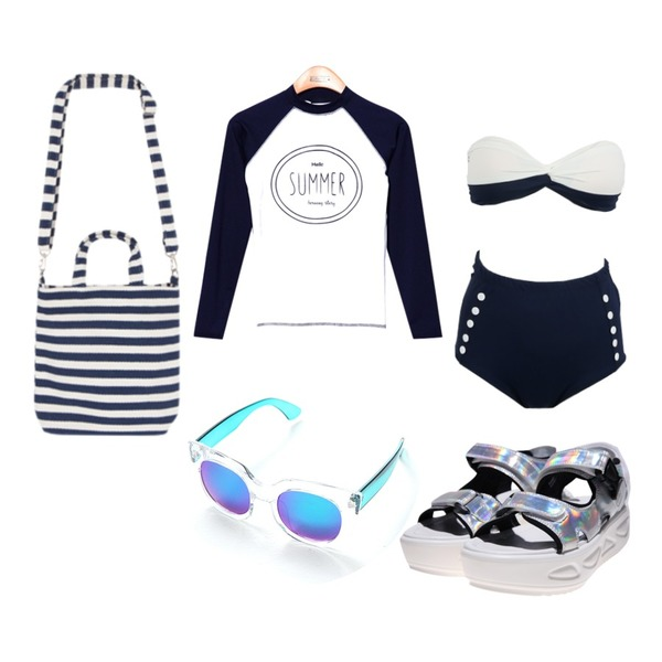 daily monday Marin button bikini,Reine Hello Summer Rash Guard,DORA 홀로그램샌들등을 매치한 코디