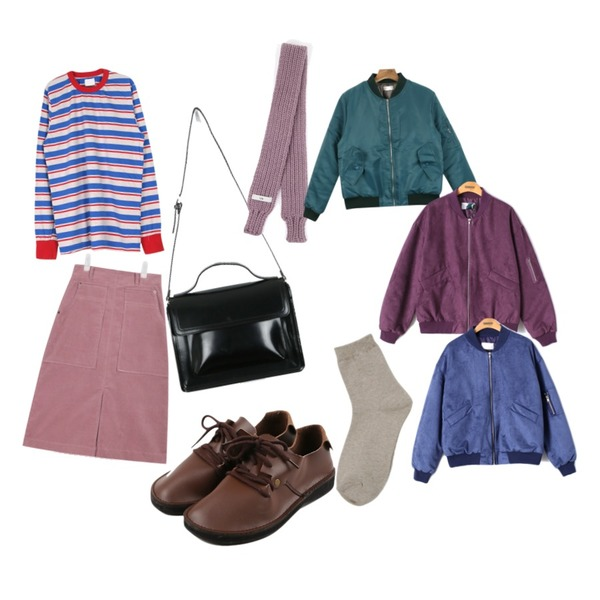 AIN corduroy middle warm skirt (3 colors) ,WEAR YOU stripe #2,daily monday Round string shoes등을 매치한 코디