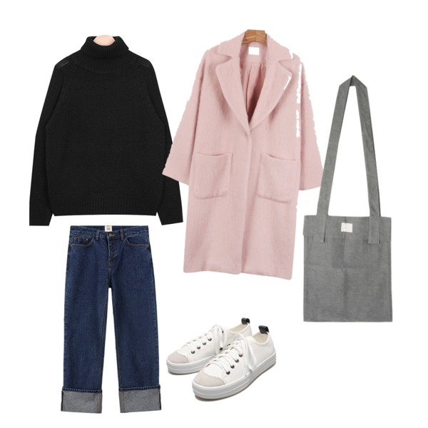 AIN urban winter cosy pola knit (3 colors),daily monday One button soft coat,biznshoe Straight denim pants (2color)등을 매치한 코디