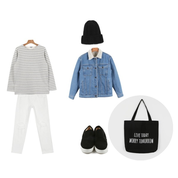 daily monday Winter denim jacket11/20 입고예정,daily monday Another winter stripe tee,AIN cutting knee detail pants (2 colors)등을 매치한 코디