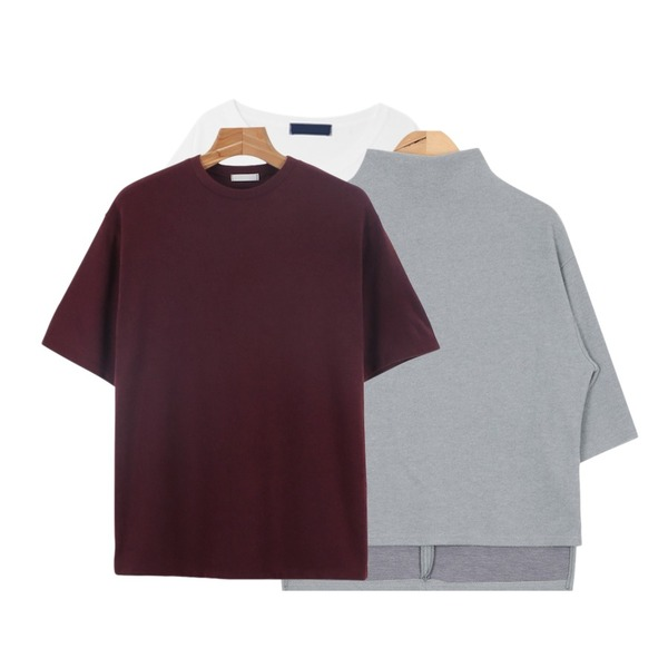DORA 무지박스T,daily monday Warm basic round tee,AIN napping solid turtleneck T (3 colors)등을 매치한 코디
