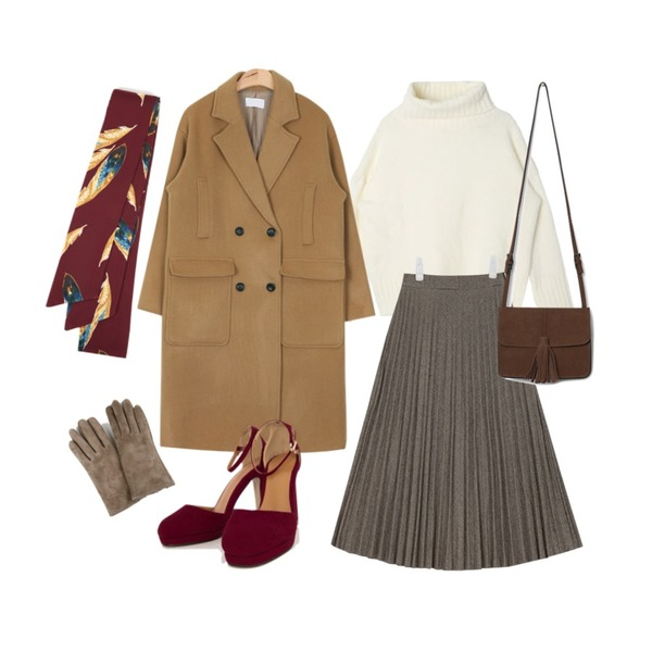AIN daily outfit double long coat (2 colors),AIN margaret check long pleats skirt (2 colors),DORA 나인터틀니트등을 매치한 코디
