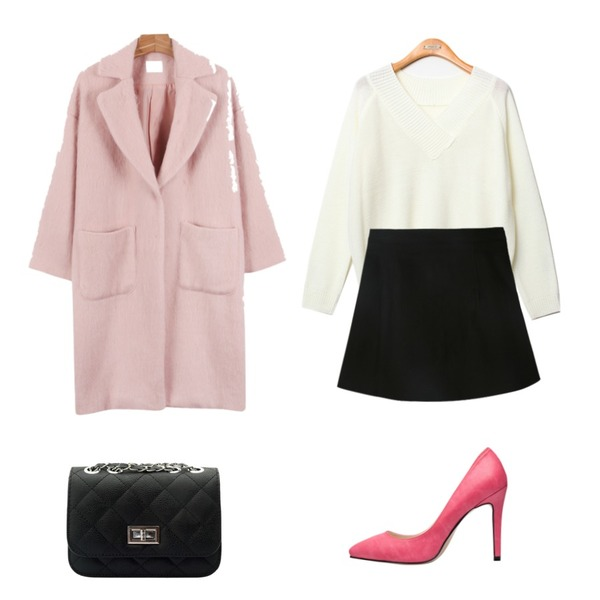 biznshoe Basic stiletto heel (7color),Reine 커밍 루즈핏 브이넥 니트,daily monday One button soft coat등을 매치한 코디