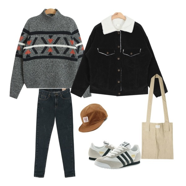 TODAY ME [knit]앤드룬 니트,AIN winter corduroy casual jacket (3 colors),DORA 슬림핏기모P등을 매치한 코디