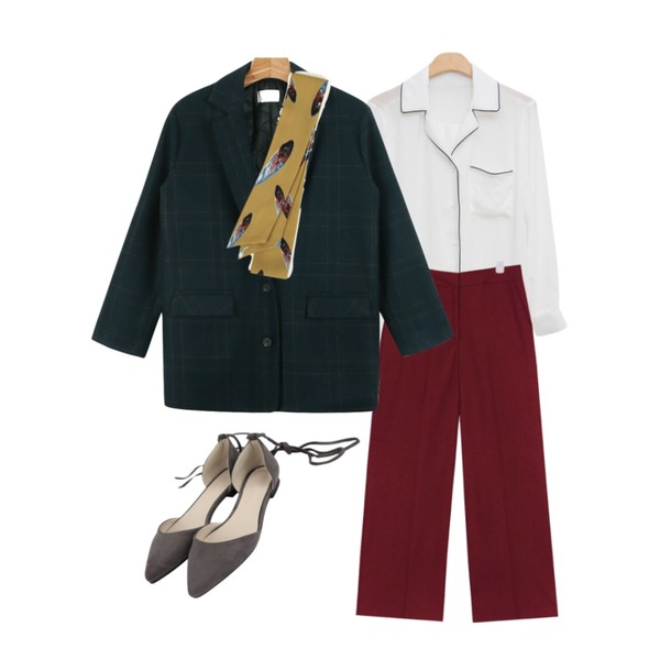 MIND ME 테이핑 포인트 포켓 bl (2color),daily monday Classic over jacket,AIN jude modern wide slacks (2 colors)등을 매치한 코디