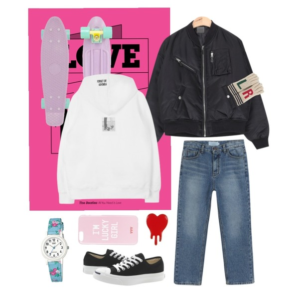 love is all you need,AIN boy casual minimal jumper (3 colors),daily monday Warm straight denim등을 매치한 코디