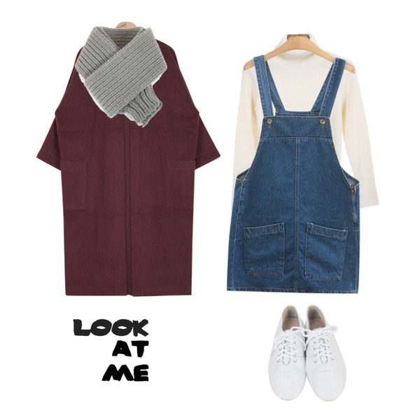 TODAY ME [skirt]카누 멜빵 스커트,AIN boxy fit thick cardigan (4 colors),Zemma World 몽듀 (knit) 등을 매치한 코디