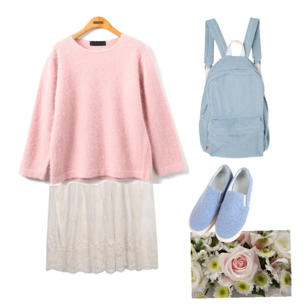 DORA DORA+U 데일리데님백팩,Reine Premium Cover Angora Knit,AIN lace layered lapping ops (2 colors)등을 매치한 코디