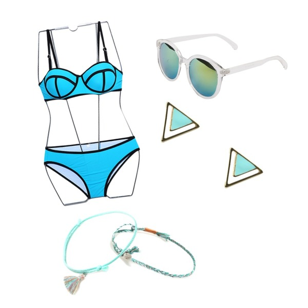 daily monday Round big frame sunglasses,Reine Triangle Color Bikini,Pebble coloring triangle earring (3color)등을 매치한 코디