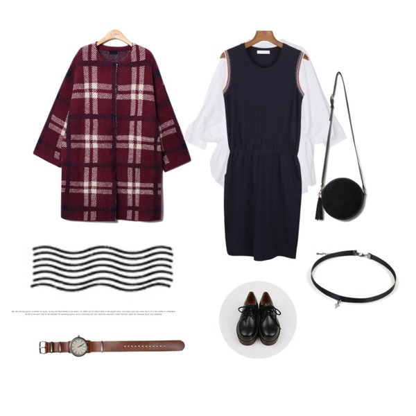 daily monday Sleeveless point easy one-piece,Reine Classic Check Knit Coat,DORA 제시BL등을 매치한 코디