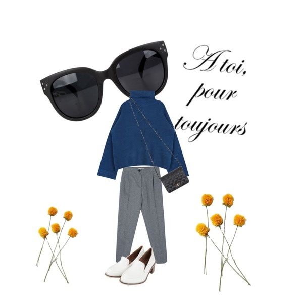 AIN jelly color sunglass (3 colors),AIN classic middle leather heel (2 colors),DORA 시그널슬랙스등을 매치한 코디
