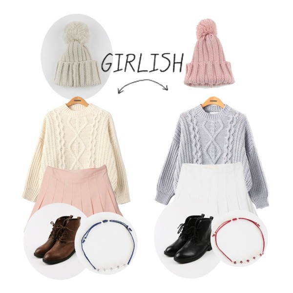 daily monday Ball knit beanie,daily monday Ball knit beanie,Reine 모스트 꽈베기 니트등을 매치한 코디