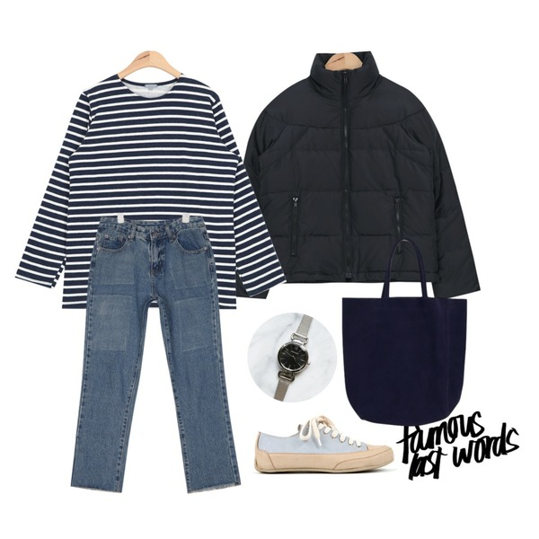 insta @thewriting,AIN duck down padding jumper (4 colors),AIN another napping stripe T (4 colors)등을 매치한 코디