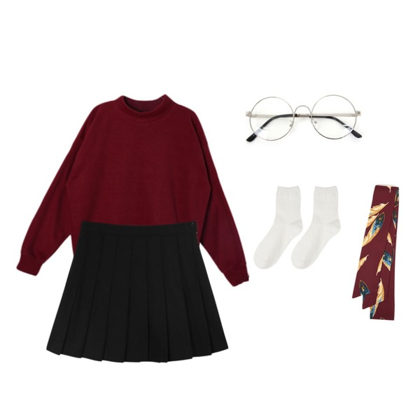 Zemma World 둥글게 (glasses) ,DORA 기모후리스MTM,daily monday Wool pleate mini skirt등을 매치한 코디