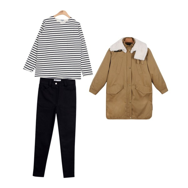 daily monday High-neck style yasang[야상,하이넥야상],common unique [BOTTOM] SLIM HIGH SKINNY,AIN another napping stripe T (4 colors)등을 매치한 코디