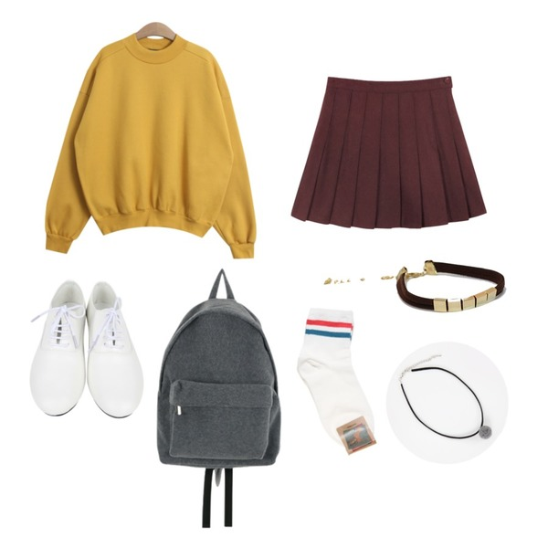 AIN dancing loafer (2 colors),daily monday Wool pleate mini skirt,TODAY ME [mtm]모스트 맨투맨등을 매치한 코디