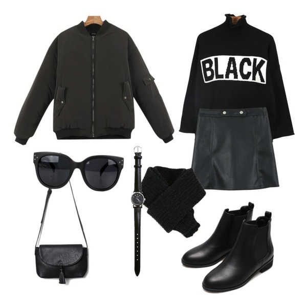 daily monday Snap button leather skirt,daily monday Daily bonding jumper,daily monday Black turtle neck knit등을 매치한 코디
