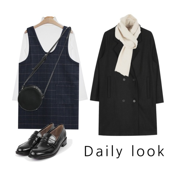 AIN warm high neck T (3 colors),TODAY ME [one-piece]프리븐 체크 원피스,AIN classic double wool coat (2 colors)등을 매치한 코디