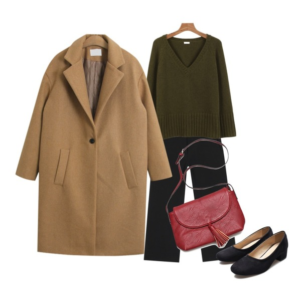 daily monday Simple v-neck knitKAHKI 11/20 입고예정,TODAY ME [coat]바뉴 코트,AIN easy fit wide slacks (2 colors)등을 매치한 코디