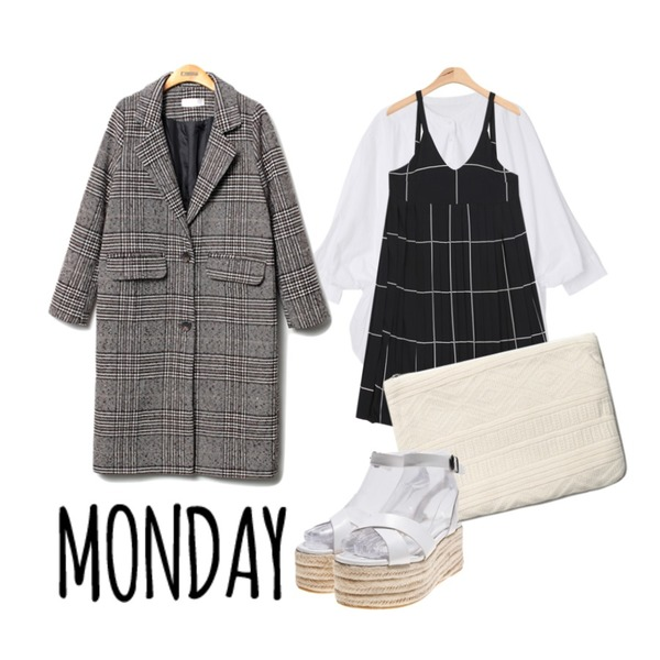 Reine Lam Houndtooth Check Coat,AIN clip modern check long ops (2 colors),DORA 제시BL등을 매치한 코디