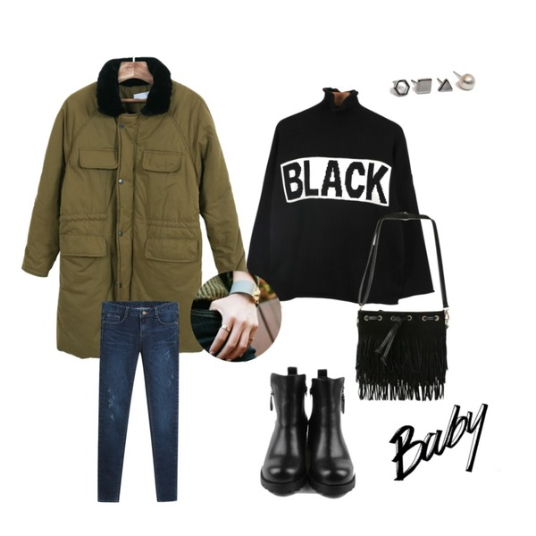 Zemma World 폴라폴리스-패딩,daily monday Black turtle neck knit,daily monday Rounding zipper ankle boots등을 매치한 코디