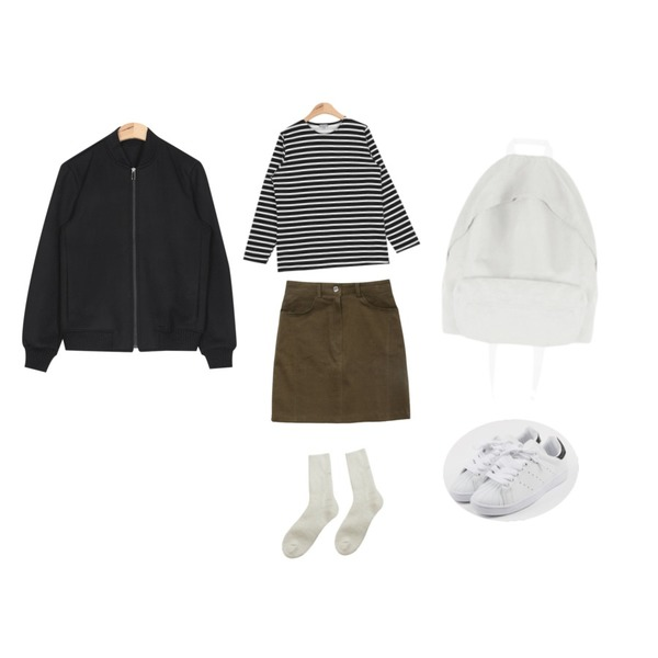 daily monday Round cushion sneakers,AIN another napping stripe T (4 colors),AIN casual simple baseball jumper (2 colors)등을 매치한 코디
