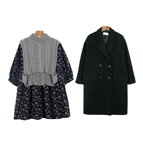 daily monday Cotton flower one-piece,daily monday Martine double coat,daily monday Turtle layered vest등을 매치한 코디
