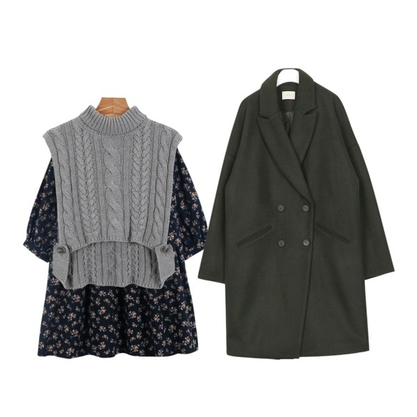 """daily monday Cotton flower one-piece,AIN """" FRESH A """" over double coat (4 colors),daily monday Turtle layered vest등을 매치한 코디"""