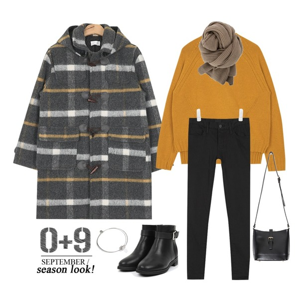 AIN daily raglan wool knit (4 colors),AIN basic cotton winter skinny (4 colors),AIN check color duffle coat등을 매치한 코디