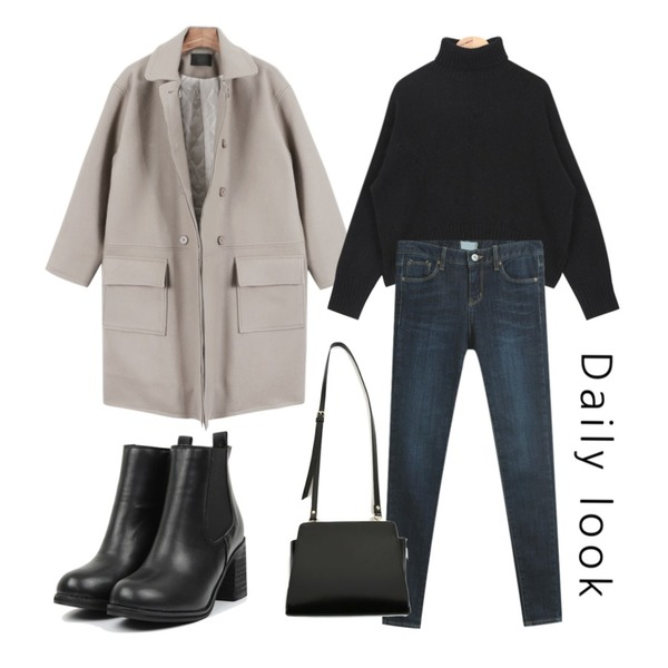 TODAY ME [skinny]스베 스키니진,daily monday Deview loose fit coat,AIN cozy angora turtleneck knit (5 colors)등을 매치한 코디