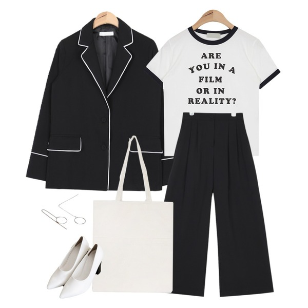 AIN straight fit banding slacks ,AIN lettering ringer T (2 colors),AIN piping pajama suit jacket등을 매치한 코디
