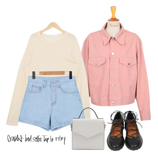 From Beginning Silky round long sleeve T_P (size : free),From Beginning Roll-up high denim shorts_P (size : S,M,L),From Beginning Made_outer-052_simple cotton jacket_B (size : free)등을 매치한 코디