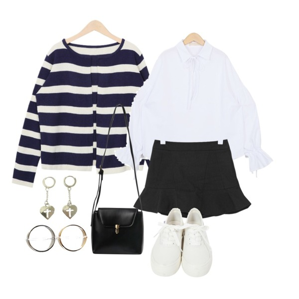 From Beginning Light stripe no button cardigan_P (size : free),From Beginning Soft puff ribbon blouse_Y (size : free),CCUMI SISTER Frill mini pants skirt등을 매치한 코디
