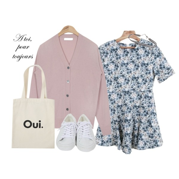 AIN play basic wool cardigan (5 colors),Zemma World 블러썸 (ops),From Beginning Oui shoulder eco bag_H  (size : one)등을 매치한 코디