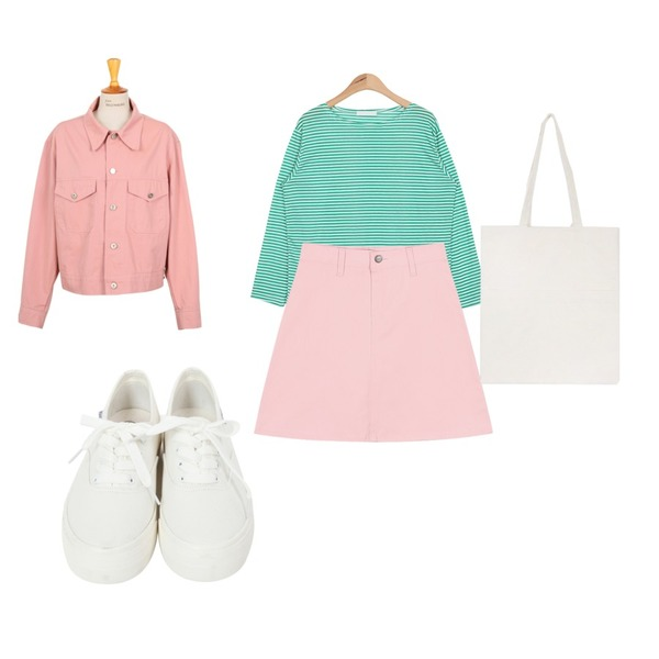 AIN slim boat stripe T (4 colors),From Beginning Made_outer-052_simple cotton jacket_B (size : free),From Beginning Basic cotton sneakers_A  (size : 225,230,235,240,245,250)등을 매치한 코디