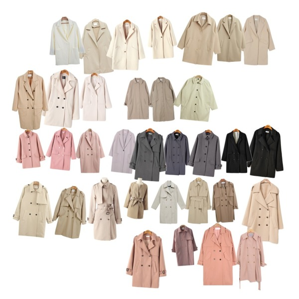 NEW NEED NOW 프렌치 하프 바바리(2color),From Beginning Classic belted trench coat_Y (size : free),CCUMI SISTER Basic long trench coat등을 매치한 코디