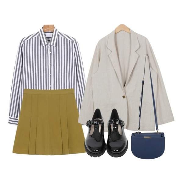 daily monday Color pleats mini skirt,From Beginning Standard loose-fit linen jacket_B (size : free),daily monday Vivian color stripe shirts등을 매치한 코디