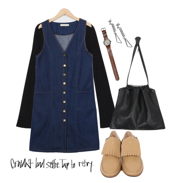 From Beginning Denim button open ops B (size : free),From Beginning Boots sleeve round knit A  (size : free),From Beginning Tassel strap open Loafer H  (size : 230,235,240,245,250)등을 매치한 코디