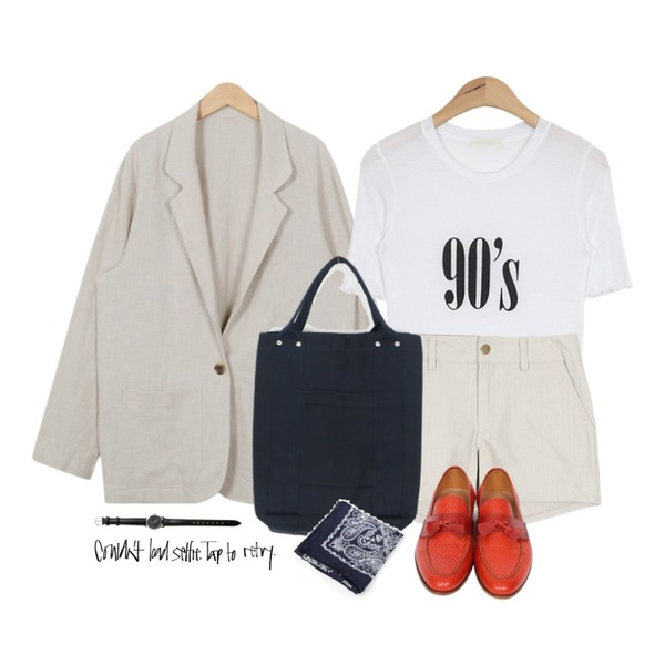 From Beginning Standard loose-fit linen jacket_B (size : free),daily monday Color standard short pants,AIN 90's retro T (2 colors)등을 매치한 코디