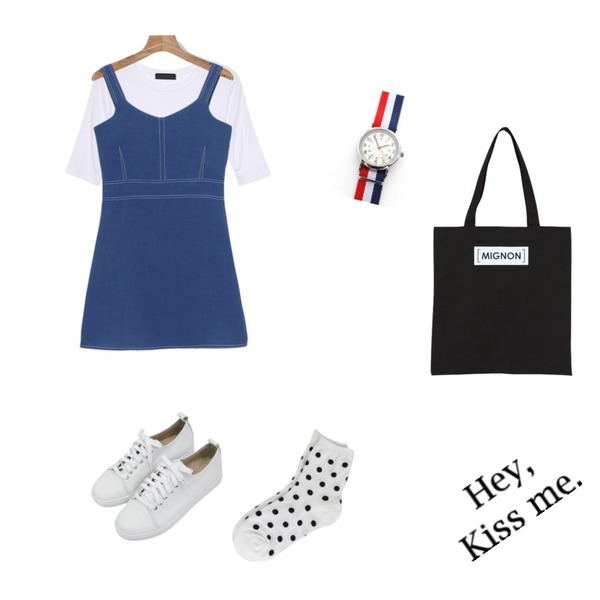 BULLANG GIRL 땡땡컬러 양말,IM3 5부 스판 basic tee,daily monday Stitch mini one-piece등을 매치한 코디