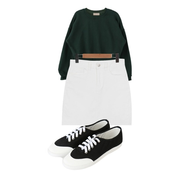 SOMEDAYS 라인 스니커즈(3color),From Beginning Spring color cotton skirt_P (size : S,M,L),DORA 노멀크롭MTM등을 매치한 코디