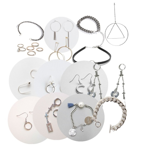 IM3 진주 TWISTED BRACELET,daily monday Metal circle unbalanced earring,IM3 체인 BRACELET등을 매치한 코디