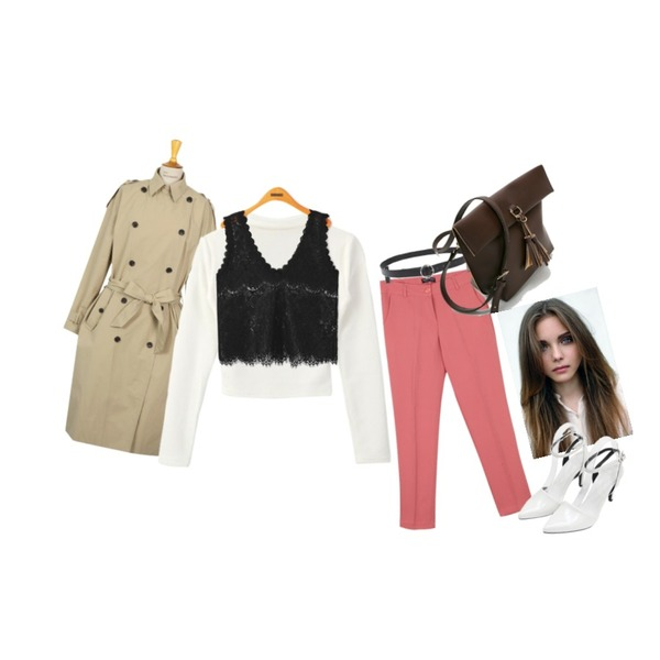 DORA 초커크롭T,From Beginning French double trench coat_P (size : free),ㅜ등을 매치한 코디
