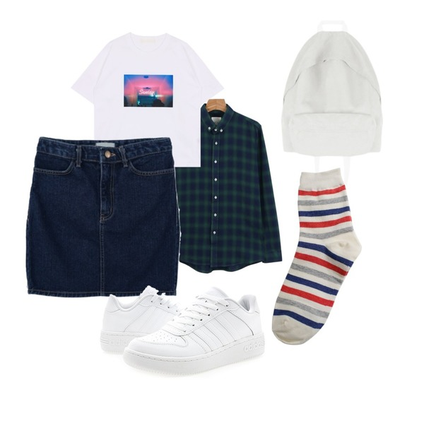 Rough & Detail effects stripe2, socks red,daily monday Double check pattern shirt,MIXXMIX 러스 심플 백팩등을 매치한 코디