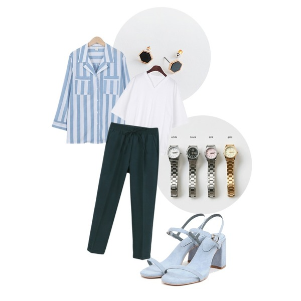 daily monday Casio metal 4color watch,daily monday Clean 3shape earring set,From Beginning Stripe two-pocket blouse_B (size : free)등을 매치한 코디